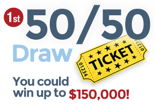Get your ticket for the 50/50 Draw